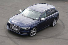 The S6 Avant boasts a 4.0-litre twin-turbo direct-injection V8, quattro four-wheel drive with Audi's Sport differential and sports air suspension.