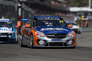 Tim Slade worked hard at the back of the field during the Clipsal 500 in Adelaide. Pictures / Edge Photographics