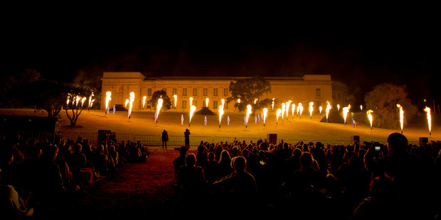 Group F, from France, perform The Breath of the Volcano, during the opening of Auckland Arts Festival, held at the Auckland Domain, with the Auckland Museum as a backdrop. Photo / Brett Phibbs