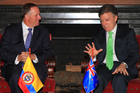 New Zealand Prime Minister John Key meets with Colobian President Juan Manuel Santos on day three of a visit to Latin america.