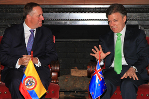 The chemistry between John Key (L) and President Juan Manuel Santos was a factor in the Colombians' enthusiastic response to a trade agreement. Photo / Supplied