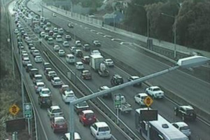 The crash caused flow-on problems, including in Albert St and on the Southern Motorway. Photo / Supplied