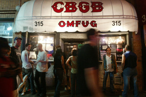 The entrance to the famed music club CBGB in the Lower East Side of New York. Photo / Bloomberg