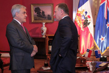 New Zealand Prime Minister John Key meets with Chilean President Sebastian Pinera in Santiago. Photo / Supplied 