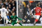 Spurs winger Gareth Bale leaves Arsenal keeper Wojciech Szczesny stranded at White Hart Lane.  Photo / AP