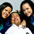 Venezuela's President Hugo Chavez with his daughters. Photo / AP