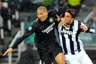 Juventus' Alessandro Matri (right), contesting the ball with Celtic's Kelvin Wilson, opened the scoring. Photo / AP