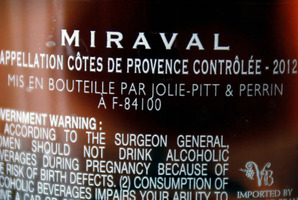The names of Brad Pitt and Angelina Jolie are printed on a bottle of Miraval, Cote de Provence rose wine.Photo / AP