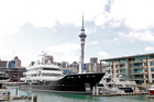Billionaire Graeme Hart's superyacht Ulysses docked at the Auckland Viaduct. Forbes ranked Hart the 229th richest person in the world. Photo / Michael Craig