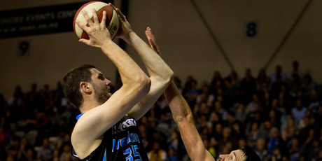 Alex Pledger of the Breakers (left), at 2.2m, is the tallest professional sportsman in New Zealand. Photo / Sarah Ivey