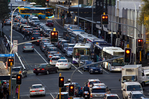 Auckland City commuters in gridlock, view along Albert Street, Auckland CBD 7th March. Photo / Brett Phibbs