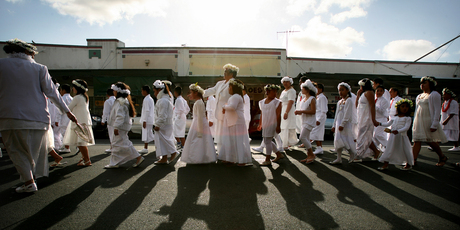 Pacific Islanders celebrate White Sunday (Children's Day) at Avondale Union Parish. Photo / Natalie Slade
