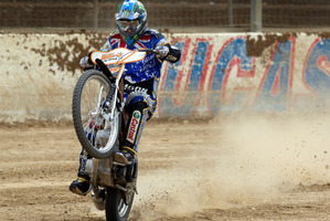 World speedway GP champ Chris Holder doesn't mind getting down and dirty. Photo / Brett Phibbs