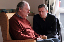 Tom (John Simm, right) returns home to Lancashire to reluctantly look after his ailing dad (Jim Broadbent) in Exile. Photo / Supplied