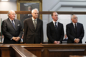 Lombard Finance directors Lawrence Bryant, Bill Jeffries, Michael Reeves and Sir Douglas Graham. Photo / Mark Mitchell
