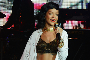 Rihanna performs her London 777 tour gig. Photo / AP