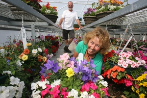 Paul Foster and Marilyn Hunt of Lansdowne Nurseries with hanging baskets and colour bowls for the Ellerslie Flower Show. Photo /  Lynda Feringa