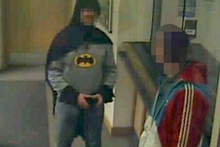'Batman' is seen on CCTV footage at a Bradford police station. Photo / Independent/Supplied
