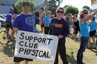 Club Physical gym members seen here protesting outside one of the Jolt Fitness branches. Photo / Supplied