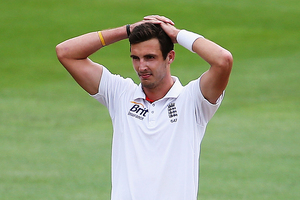 Steven Finn of England shows his disappointment on day three of the test between England and New Zealand. Photo / Getty