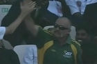 Former Australian pace bowler Merv Hughes took a top catch in the crowd off a David Warner six against India.