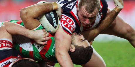 Old foes the Roosters and Rabbitohs open the 2013 NRL season tomorrow, but Sky has yet to sign a broadcast deal with the NRL.  Photo / Getty Images