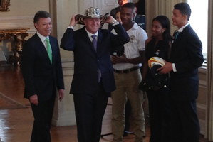 John Key wearing a traditional Colombian hat. Photo / Supplied