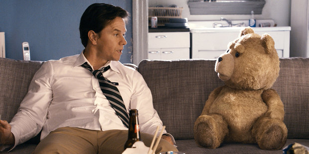 Mark Wahlberg and Ted in the movie Ted. Photo/supplied