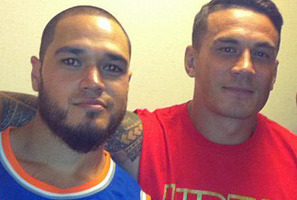 Barber Alan Tonkin with his star client Sonny Bill Williams.