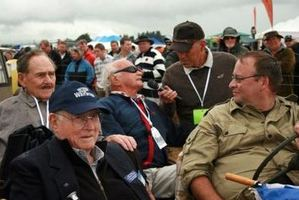 Alan Gawith (front left) and Bernard Brown (back left), who is also a veteran of the Battle of Britain. Photo / Wairarapa Times-Age