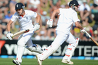 Nick Compton and Jonathan Trott run between the wickets during day one of the 2nd Test match between New Zealand and England. Photo / Getty Images.