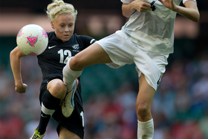 Betsy Hassett in action for the Football Ferns. Photo / Brett Phibbs