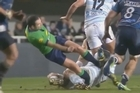 [Viewer discretion is advised] In the Montpellier vs Racing Metro game yesterday, referee Mathieu Raynal suffered a double fracture of tibia and fibula, a broken collarbone and sprained left ankle after colliding with a player.
