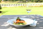 Salmon and pea risotto, as served at The Vineyard Cafe at Villa Maria Estate, Auckland. Photo / Chris Gorman