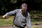 Herald journalist Mathew Dearnaley tries out a pair of Fatal Vision goggles in Auckland. Photo / Sarah Ivey