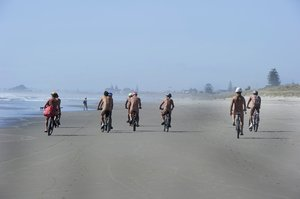 Second annual World Naked Bike Ride organized by Andrew Pointon. Photo / George Novak