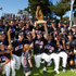 On top of the world - New Zealand Black Sox show off their trophy. Photo / Brett Phibbs
