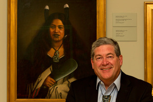 John McEnteer with the portrait of his great-great aunt Pare Watene, as painted in  1878 by Gottfried Lindauer.  Photo / Brett Phibbs