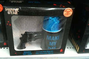 This loosely-themed Dirty Harry mug and gun Easter egg combo was spotted in The Warehouse, Whangaparaoa. Photo / supplied
