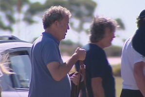 Jeremy Clarkson and James May at Auckland Airport. They are set to film on Ninety Mile Beach. Photo / One News