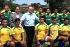 John Key meets some of Brazil's up-and-coming rugby players in Sao Paulo yesterday. Photo / Supplied