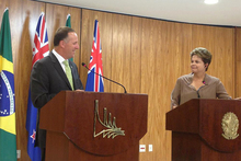 John Key met Brazil's Dilma Rousseff (right) and three other Presidents on his Latin American mission. Photo / Supplied 