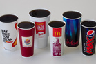 Large drinks from (L-R) Carl's Jr, McDonalds, Wendy's, Burger King, Event Cinemas and KFC. Over-sized soft drinks from fast food outlets. Photo / Natalie Slade