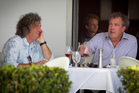 James May (left) and Jeremy Clarkson relax at Euro restaurant on Princes Wharf yesterday after their filming in the Far North. Photo / Natalie Slade