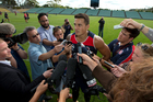Sonny Bill Williams talks to the media.  Photo / Brett Phibbs