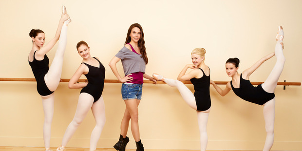 Emma Dumont as Melanie, Kaitlyn Jenkins as Boo, Sutton Foster as Michelle, Bailey Buntain as Ginny and Julia Goldani Telles as Sasha in Bunheads. Photo / Supplied