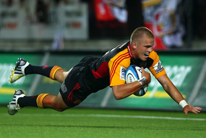 Gareth Anscombe has taken on the goalkicking duties in all three of the Chiefs' matches so far and also crossed the chalk. Photo / Getty Images