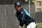 Ross Taylor bats in the nets as New Zealand tune up for the second test at the Basin Reserve. Photo / Getty Images