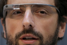 Google co-founder Sergey Brin wears Google Glass glasses. Photo / AP
