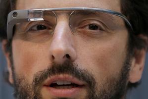 Google co-founder Sergey Brin wears Google Glass glasses. Photo / AP